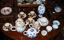 Selection of old oriental ceramicware, including teapots, vase, etc.