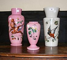 Three various hand painted Victorian glass vases
