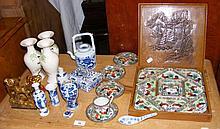Various oriental china, including teapot