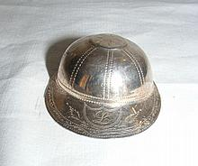 Silver Jockey cap caddy spoon - Birmingham hallmark