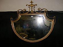 Decorative antique gilt framed wall mirror - 88cm