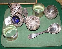 Selection of Eastern and other silver, caddy spoon