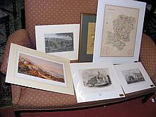 Selection of old engravings, together with a Map of Hampshire and an original watercolour by R BENNETT - still life