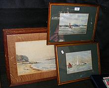DASHWOOD - pair of watercolours - Naval battleships off Isle of Wight coast, together with one other pair of watercolours by HEWETT