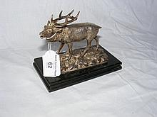 Victorian silver plated Stag ornament on plinth