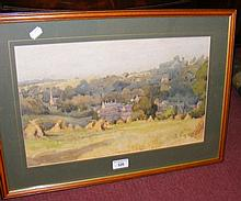 Watercolour of country haystack scene