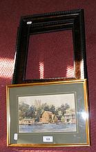 ERNEST CLEGG - watercolour of Christchurch, together with a pair of simulated tortoiseshell picture frames