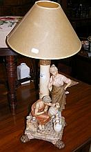 A Royal Dux table lamp with figural mount