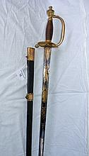 1796 Pattern Infantry Officer's sword, brass hilt with silver wire bound grip, having decorative blued blade - 98cm overall - the leather and metal bound scabbard engraved Castle & Barber, York