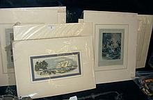Selection of old engravings, including Cowes Regatta, Naval battles etc.