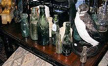 Various old Isle of Wight bottles, together with a stuffed sea bird
