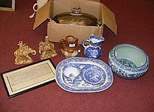 Blue and white meat plate, Doulton jug etc.