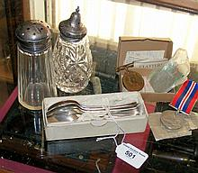Set of silver teaspoons, sugar shaker, together with Second World War medals