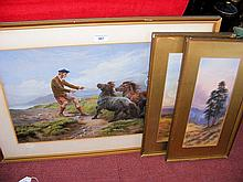 A 19th century picture of Highland horse scene, together with two other pictures