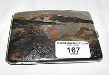 Japanese sterling silver cigarette case with engraved decoration