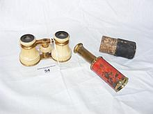 Pair of ivory opera glasses, together with pocket telescope