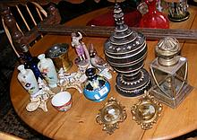 Various collectables, including vases, decanter etc.