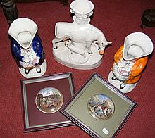 Staffordshire Cow ornament, together with two Toby Jugs and Prattware pot lids