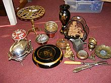 Pierced brass trivet, together with other collectables