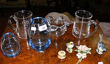 Various collectable glass and ceramicware, including Holmegaard vases, Worcester pill pot and cover