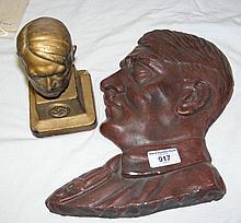 A 29cm plaster relief bust of Adolf Hitler, togeth