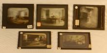 Wallace Nutting - 5 Hand-Colored Glass Slides