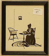 Wallace Nutting Silhouette - Girl by 3-Leg Table