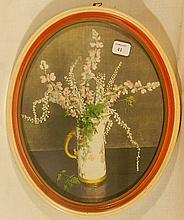 Wallace Nutting - A Royal Worcester Vase - Rare Oval Floral