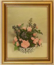 Wallace Nutting - Close-Framed Floral - Roses & Larkspur