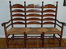 Wallace Nutting Furniture - #591 Triple Ladderback Rushed Seat Settee