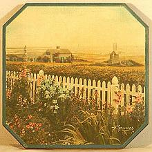 Charles Sawyer - Rare Wooden Trivet with Cape Cod Scene