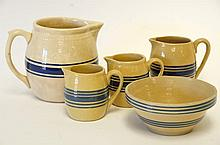 Yellowware Bowl & Pitchers