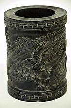 Chinese Carved Hardwood Brush Pot