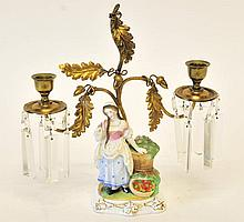 19th C. Bisque Figural Candelabra