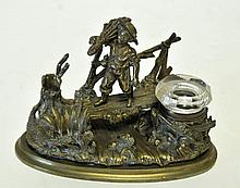 French Bronze Figural Inkwell