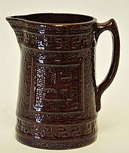 Am. Swastika Stoneware Pitcher