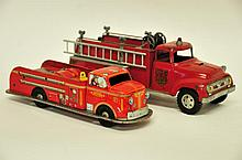 2 Vintage Tonka & Marx Toy Fire Trucks