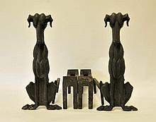 Pr. Cast Iron Dog Figural Andirons