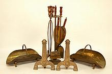 Arts & Crafts Andirons, Bellows, Tools