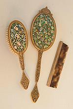 Fine Bronze Dore & Enamel Dresser Set