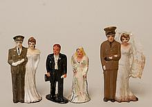 c. 1940s, 3 Military & Metal Cake Topper Dolls