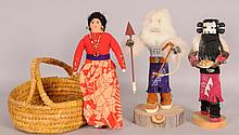 Two Kachina Dolls, Basket, Other Doll