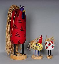 3 Navajo Folk Art Carved Wood & Painted Roosters