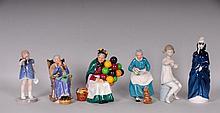6 Porcelain Figures--Royal Doulton, Lladro, B