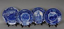 4 Blue & White Historical & Commemorative Plates