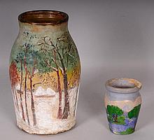 2 Folk Art Painted Stoneware Storage Jars