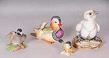 Four Painted Porcelain Birds