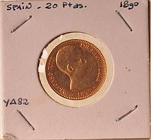 1890 MP-M Spanish Gold 20 Pesetas