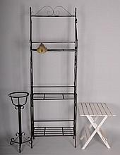Patio Items--Etagere, Plant Stand, Table, Bell
