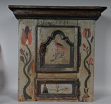 Painted Pine Hanging Cupboard, Dated 1781